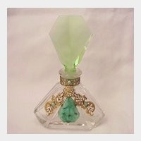 Czech Jeweled Perfume Bottle - Circa 1930