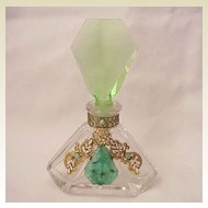Green and Clear Jeweled Czech Perfume Bottle - Circa 1930