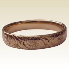 Gold Filled Floral Engraved Bracelet - Circa 1910