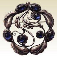 Georg Jensen Sterling Moonlight Brooch / Pin #159 with Sapphires - Circa 1940