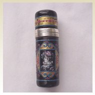 European Silver and 17th Century Style Enamel Scent Bottle - Circa 1880