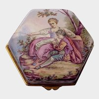 European Porcelain Enamel Trinket Box - C. 1890