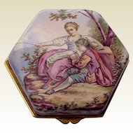 European Hand Painted Porcelainized Enamel Trinket Box - Circa 1890