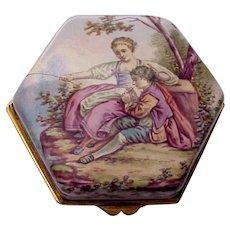 European Porcelain Enamel Trinket Box - C. 1890