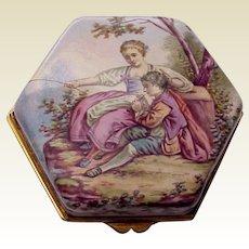 European Hand Painted Porcelainized Enamel Trinket Box - Circa 1890