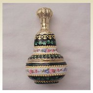 Magnificent French Vermeil Silver and Limoges Enamel Scent Bottle with Sweetmeats or Snuff Compartment - Circa 1850
