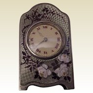 Zenith Miniature Sterling and Enamel Lady's Desk or Boudoir Clock - Circa 1905