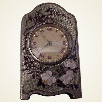 Zenith Miniature Sterling and Enamel Lady's Desk or Boudoir Clock - Circa 1905