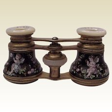 Le Clerc Paris Enamel and Mother of Pearl Opera Glasses - Circa 1900