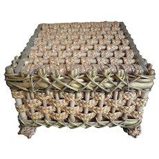 Antique Square Sewing Basket