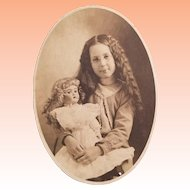 Antique Photo Card, Big German Doll and Cute Girl