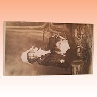 Heubach Baby in Carriage with Smiling Girl, Antique Photo