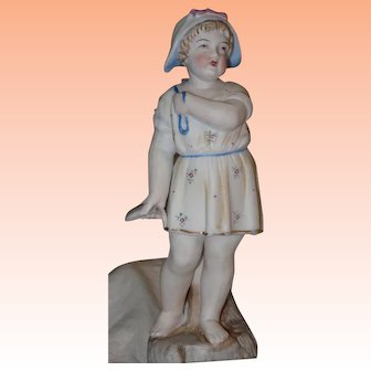 German Bisque Figurine, Fishing Girl
