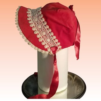 Red Bonnet for Antique Doll