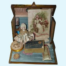 Celluloid Sewing Box with Bonnet Doll