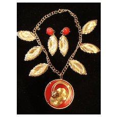Early Plastic Pendant Necklace & Earrings Demi-Parure