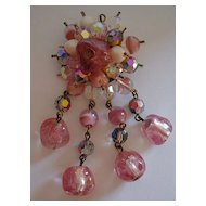 Lovely Pink Art Glass Beaded Brooch with Trombone Clasp