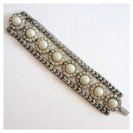 Gorgeous Sterling Faux Pearl Rhinestone Bracelet