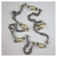 Unique Celebrity Rhinestone & Faux Pearl Long Necklace