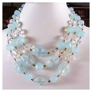 Blue Art Glass Beaded 3-Strand Necklace