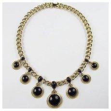 Trifari Gold Tone & Black Enamel Necklace