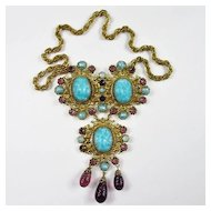 Superb Schreiner Turquoise Glass Necklace