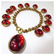 Glowing Red Glass Orb Bracelet