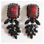 Red & Black Embossed Dangle Earrings