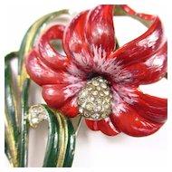 Rare Deja Enameled Flower Brooch