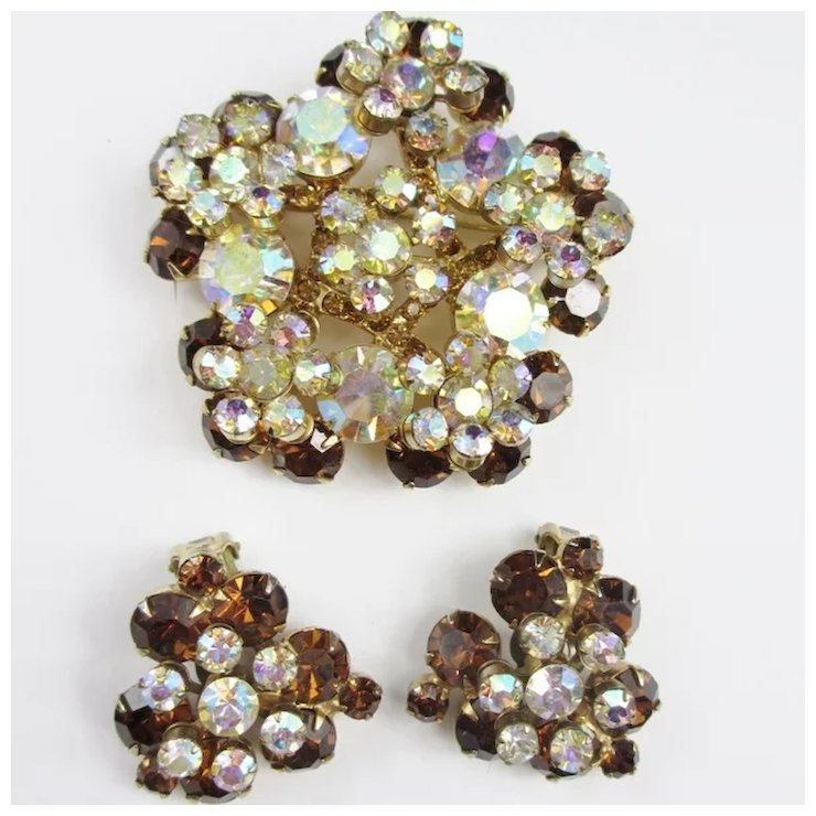 Juliana Dimensional Brooch Earring Set