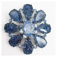 Schreiner Blue Art Glass Brooch/Pendant