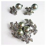 Unique Schreiner Brooch & Earring Set
