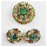 Gorgeous Schreiner Rhinestone Brooch & Earrings