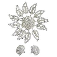 Sterling Sonia Lee Flower Brooch/Pendant and Earrings
