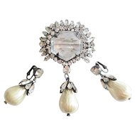 Magnificent Schreiner Brooch/Pendant & Earring Set