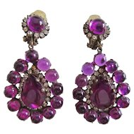 K.J.L. Kenneth Jay Lane 1960s Purple Cabochon Earrings