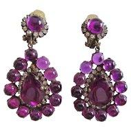 K.J.L. Kenneth Jay Lane 1960s Purple Cabochon Earrings