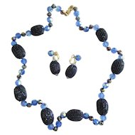 Blue Beaded Trifari Necklace & Earrings Set