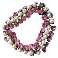 Pink Rhinestone & Faux Pearl Bracelet