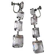 Rock Crystal Sterling Dangle Earrings
