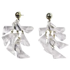 Fabulous Clear Lucite Dangle Earrings