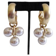 Les Bernard Faux Pearl Dangle Earrings