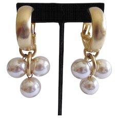 Les Bernard Faux Pearl Dangle Earrings