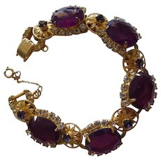 Juliana Purple Crystal & Flower Bracelet