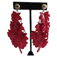 Impressive Celluloid Leaf Earrings
