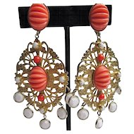 Coral & White Dangle K.J.L. Earrings