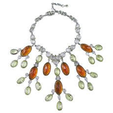 Amazing and Huge Schreiner Bib Necklace