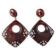 Wonderful Faux Tortoise Shell Rhinestone Encrusted Earrings