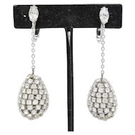 Dangling Pear Shaped Rhinestone Earrings