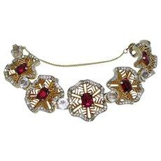 Gorgeous Ruby Glass Floral Bracelet